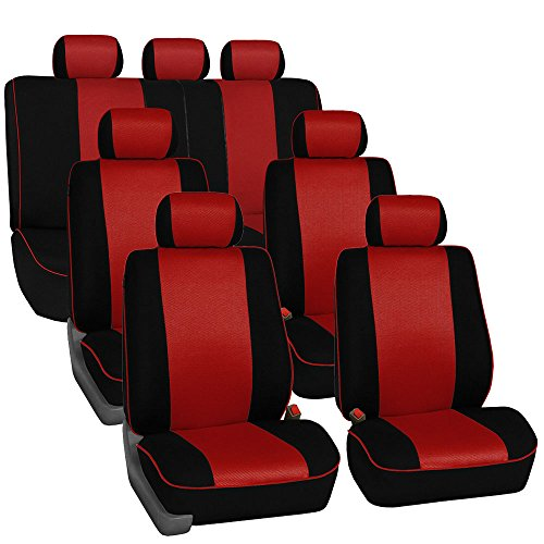 FH-FB115102 Red//Black Solid Polka Dots Flat Cloth Car Seat Covers Front Set