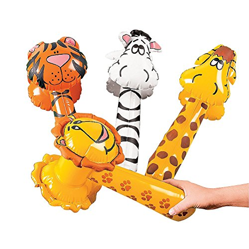 Inflatable Zoo Animal Hammers 4 pc