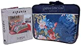 Shivalik 200 TC Cotton 4 Piece Bedding Set - Floral, King Size, Blue & Red
