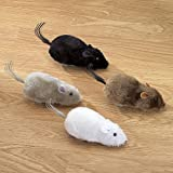"Bits and Pieces - Wind Up Racing 4 Mice - Realistic Looking Mice, Carefree pet - Set of 4 Toy Mice: black, gray, white and brown. Each Measures 4-1/2"" long"