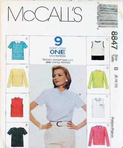 Mccall'S Sewing Pattern 8847 Misses' Easy Fitting Tops In 9 Styles, Size B (8 10 12)