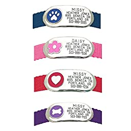 LuckyPet Pet Tags: Jewelry Collar ID Tag - For Dogs & Cats - Custom Engraved - Durable, Quiet & Chew Proof - Attaches flat to any collar! Small-Pink-Flower