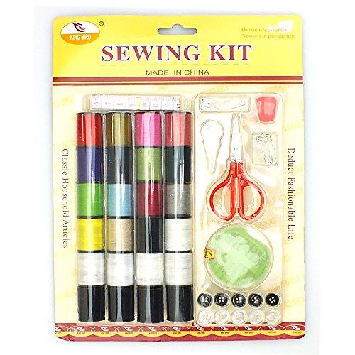 Kit de couture Deluxe Lot complet-24fils, ciseaux, aiguilles, boutons, dé à coudre, clip de sécurité/épingles par Lizzy®