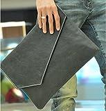 選べる6柄 クラッチバッグ ビジネスバッグ タブレット 書類 持ち運びに レザー ブレスレット + クリーニングクロス 付 (ダメージブラック)