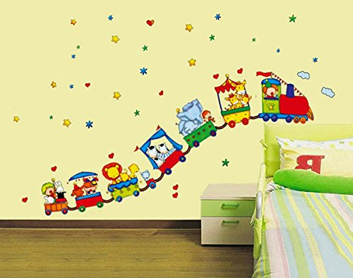 Syga Circus Animals Train Wall Stickers Standard Multicolor