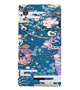 PrintVisa Girly Ethnic Flower Design 3D Hard Polycarbonate Designer Back Case Cover for Sony Xperia T3