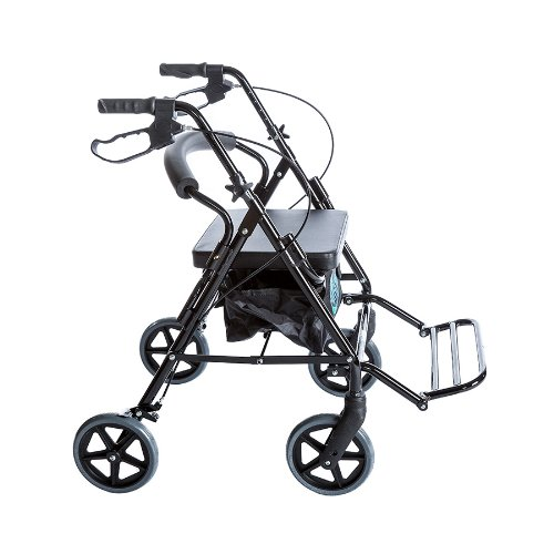 Combo Transport Rollator Chair W/8″ Wheels, Loop Brakes & Pouch Black By Healthline Trading
