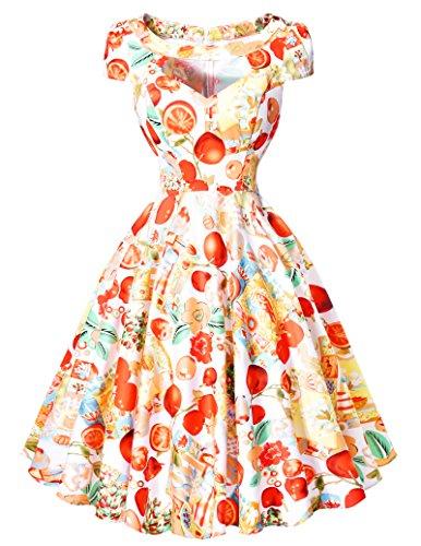 Belle Poque Retro Dress -  Vestito  - linea ad a - Maniche corte - Donna Floral 4 Small
