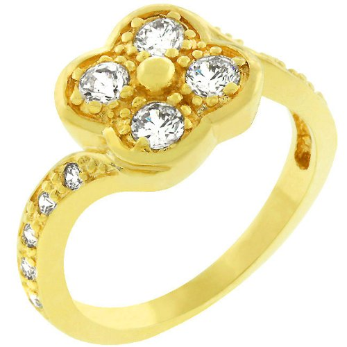 2.0 Carat (ct, cttw, ctw) Clover 14k Gold Plate Cubic Zirconia CZ Costume Ring (Size 5,6,7,8,9,10)