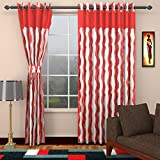 Ajay Furnishings 2 Piece Polyester Stripe Door Curtain - 7 ft, Red