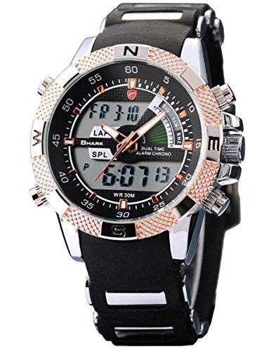 SHARK Mens Army Dual Time LCD Alarm Chronograph Sport Wrist Watch Golden Dial SH045