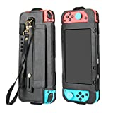 Leather Cover for Nintendo Switch,Wallet Style Full Body PU Leather Replacement Housing Shell Protective Carry Case Cover Sleeve Skin for Nintendo Nintend Switch Joy-Con NS NX Controller (Black)