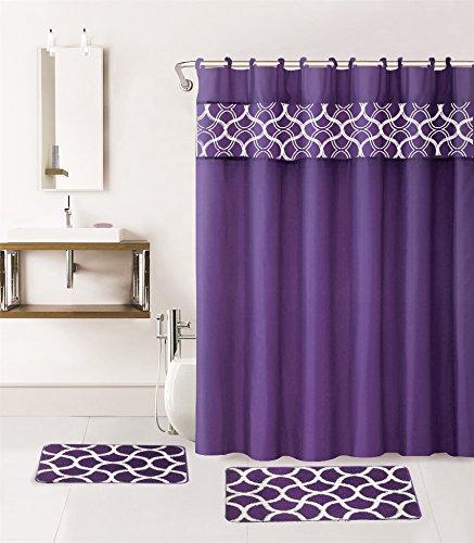 Purple Bath Rug Sets: Gorgeous Home 15PC PURPLE GEOMETRIC DESIGN BATHROOM BATH