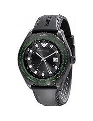 Emporio Armani Unisex AR0589 Black Rubber Quartz Watch with Black Dial