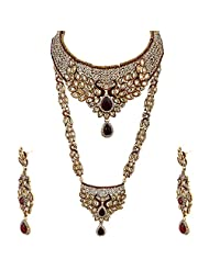 Lucky Jewellery Maroon Gold Plated Bridal Jewellery Set For Women - B00RFI3UM0