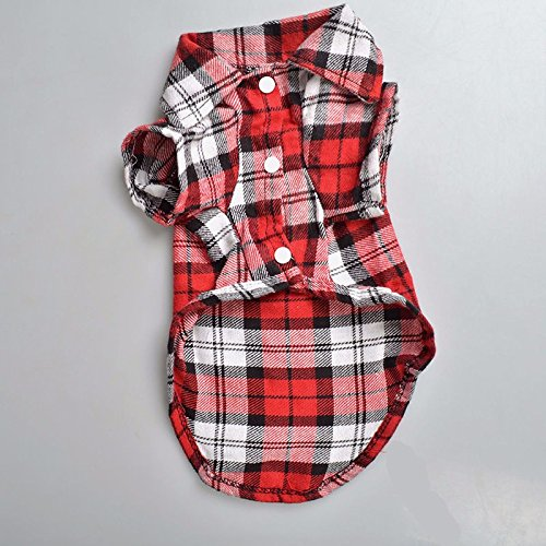 [Lovely Grid Sweater Puppy Cotton Coat T-Shirt Pet Dog Apparel Clothes Shirt (XS, RED)] (Dachshund Tootsie Roll Costume)