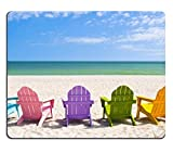 Mousepads Adirondack Beach Chairs on a Sun Beach in front of a Holiday Vacation Travel house IMAGE ID 28950860 by Liili Customized Mousepads Stain Resistance Collector Kit Kitchen Table Top Desk Drink Customized Stain Resistance Collector Kit Kitchen Table Top Desk