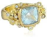 "Vibes ""Fairytale"" 18 Karat Gold Aquamarine and Diamond Ring, Size 5.5"