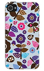 DailyObjects Violet Retro Blossom Case For iPhone 4/4S