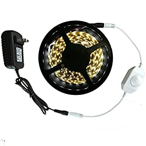 HitLights Cool White SMD3528 LED Light Strip Kit - 300 LEDs, 16.4 Ft Roll, Cut to length, Includes 24 Watt Power Adapter and  Dimmer - 5000K, 72 Lumens per foot