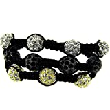 3 Row Disco Ball Macrame Bracelet – Black Silver Gold – Iced Out – Hip Hop Bling Picture