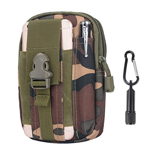 Tactical Pouch - Compact Water-resistant Multi-purpose Molle EDC Utility Gadget Gear Tools Organizer - Waist Bags Pack Cell Phone Holster - Free Bonus Mini Keychain Flashlight (Jungle Camouflage)