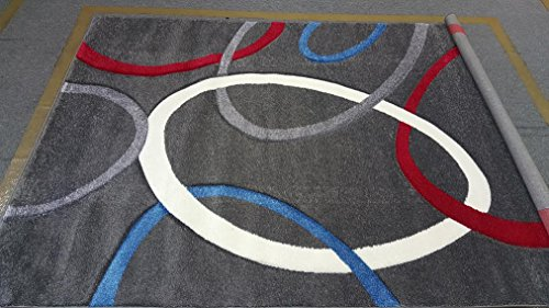 Dark Gray Charcoal Silver Red Blue White Contemporary Circles Modern Design Hand Carved 5'x8' Thick Pile High Density Carpet Area Rug Floor Mat Livingroom Bedroom H-01