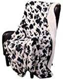 "Regal Comfort Sherpa Luxury Throw Western Style Cow Print (50"" x 70"", Cow)"