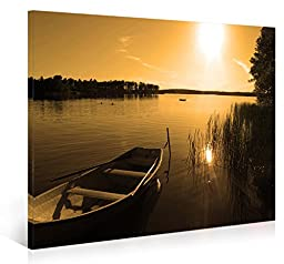 Nuolanart-P1L4060-002-Sunset Over Peace Lake-Framed Canvas Wall Art-Modern Giclee Panel Artwork - Canvas Prints Picture to photo Wall Art for Home Decor