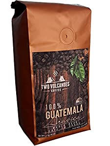 Two Volcanoes Whole Bean Coffee - Guatemalan Organic, Gourmet & Rare, Single Origin Coffee Beans. The Best Arabica Medium Roasted Beans From Guatemala. Great for Espresso or as a Gift. 1 lb Bag (16oz)