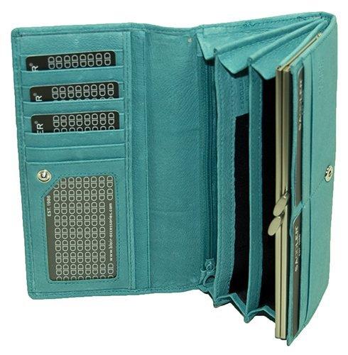 Saddler Suede Leather Ladies / Women's Internal Frame Matinee Purse, Teal Blue