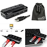 EEEkit 2 in 1 Kit for Apple MacBook Air Pro Surface Pro 3 RT Samsung Acer HP Google Chromebook, 4 Ports USB 2.0 Splitter Hub Adapter + EEEKit pouch