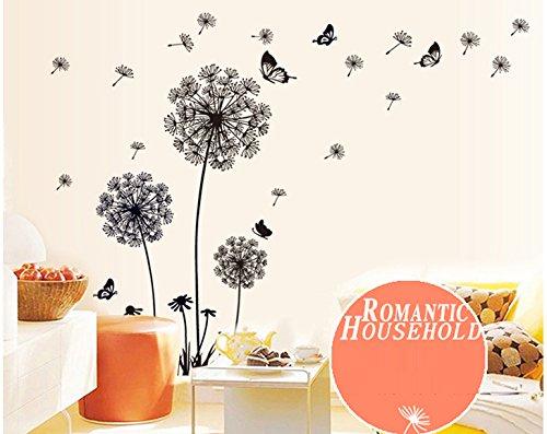 Ufengke tarassaco neri e farfalle che volano nel vento for Stickers murali 3d