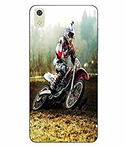Snazzy Racing Bike Printed Multicolor Hard Back Cover For LYF WATER 8