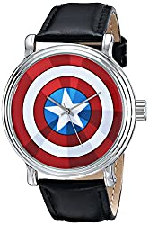 Marvel Mens W001770 The Avengers Captain America Analog-Quartz Black Watch