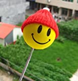 Happy Smiley Yellow Face w/ Red Hat Car Truck SUV Antenna Topper