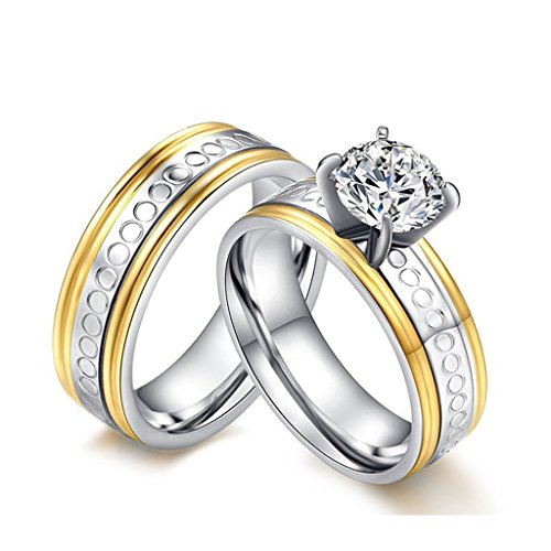 ROWAG 6mm Gold Plated Mens Titanium Stainless Steel Couple Wedding Bands for Him and Her Rhinestone CZ Womens Cubic Zirconia Promise Engagement Rings (Dr Who Engagement Ring compare prices)