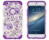 iPhone 6, DandyCase 2in1 Hybrid High Impact Hard Lavender & Cream Floral Pattern + Purple Silicone Case Cover for Apple iPhone 6 (4.7″ screen) + DandyCase Screen Cleaner thumbnail