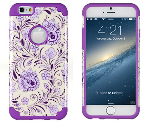 """Iphone 6, Dandycase 2In1 Hybrid High Impact Hard Lavender & Cream Floral Pattern + Purple Silicone Case Cover For Apple Iphone 6 (4.7"""" Screen) + Dandycase Screen Cleaner"""