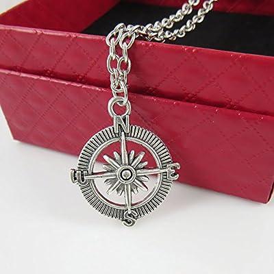 Hot Charm Pendant Vintage Retro compass Silver Necklace For Men Or Women