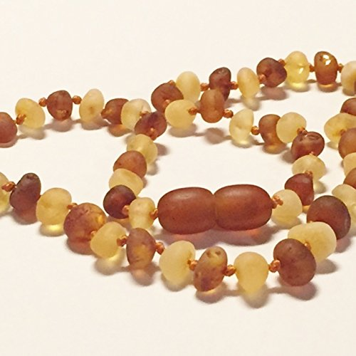"Genuine Raw Unpolished Honey Cognac Two Toned Baltic Amber Baby Teething Necklace by Nature's Calm® 12"" *Safety Knotted*Screw Closure*"
