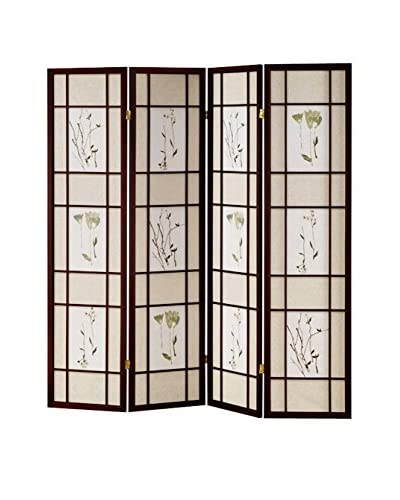 ORE International 4-Panel Shoji Screen, Cherry