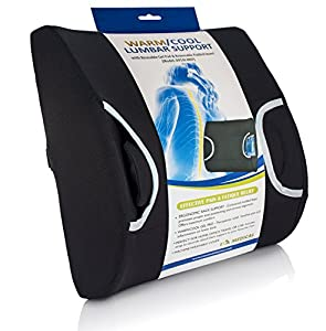 Eva Medical Lumbar Back Support Cushion Pillow with Warm/Cool Gel Pad and Removable Firm Insert