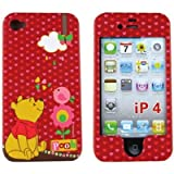 Disney Winnie The Pooh Red Hearts Pooh Bear Rubber Texture Apple Iphone 4 Gen / 4th Generation / 4G + Microfiber Bag