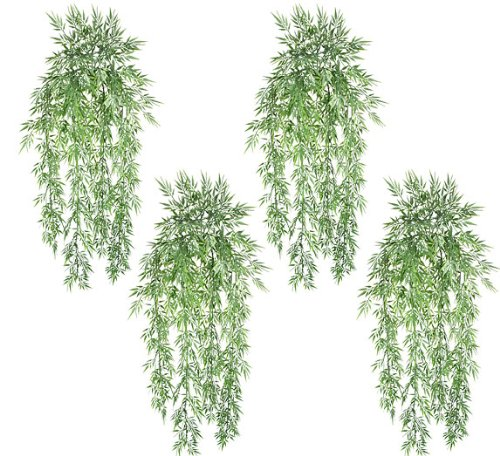 FOUR 31″ Artificial Mini Bamboo Grass Hanging Bushes
