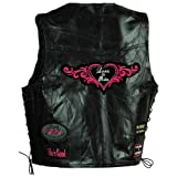 Motorcycle Lady Biker Leather Vest with Beautiful multiple Patches and Heart Patch