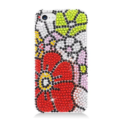 Eagle Cell Full Diamond Hard Snap Cover For Iphone 5C - Retail Packaging - Green/Red Flower