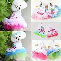 Saver Puppy Dog Cat Pet Summer Dress Lace Apparel Skirt Dress Sleeveless Braces