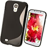 iGadgitz S Line Black Durable Crystal Gel Skin (TPU) Case Cover for Samsung Galaxy S4 IV I9500 I9505 Android Smartphone Mobile Phone + Screen Protector