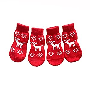 Tenworld Christmas Pet Dog Socks Cute Cartoon Christmas Deer Dog Non-slip Warm Socks (S)